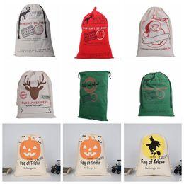 Wholesale Christmas Decorations Wholesalers - Christmas Gifts Bags Santa Claus Drawstring Bags Reindeers Christmas Sack Bags Halloween Storage Bag 14 design KKA2124