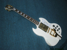 Wholesale Electric Guitar Sg - White 3 Pickups SG Electric Guitar New Arrival Guitars with Tremolo High Quality HOT