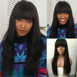 Wholesale Long Chinese Bang Wigs - 150 Density Full Lace Human Hair Wigs With Full Bangs 8-24 Inch Straight Brazilian Remy Lace Wigs Bleached Knots
