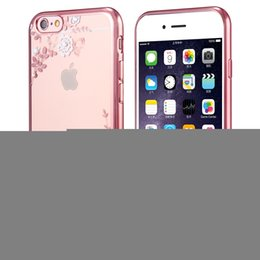 Wholesale Rubber Iphone 5s Covers Clear - Clear Bling Diamond Crystal Flower Plating TPU Soft Case For Apple iPhone 7 plus 6s 6 plus 5s SE 5 rubber Phone Covers Cases
