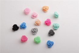 Wholesale Flat Back Flower Beads - Free shipping Imitation plastic Loose bead mixed Colors Resin Rose Shaped Charms Flat Back Beads Cabochons 12mm Fit Jewelry DIY