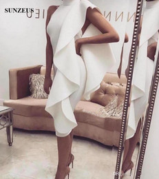 Wholesale Low Back Short Cocktail Dresses - Sheath Knee Length Short Cocktail Dresses High Neck Low Back Simple Prom Party Dress With Ruffles Formal Gowns