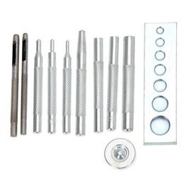 Wholesale Rivet Tool Set - 11pcs set DIY Leather Craft Tool Set Die Punch Snap Fasteners Press Studs Rivet Setter Base Fixing Tool Kit