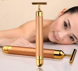Wholesale Beauty Massager Gold - T Type 24K Gold Plated Face Massager Stick Electric Energy Beauty Bar Beauty Tools & Home Skin Care Devices