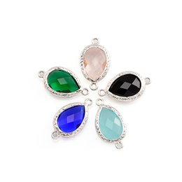Wholesale Water Drop Frame - Wholesale- Free Shipping MIX Color Quartz Marquise Faceted Glass with bezel connectors framed Abstract Water Drop Glass Links