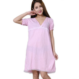 Wholesale Women Cotton Nightdress - Wholesale- Women Nightgowns 100% Cotton 2017 New Summer and Autumn Female Sleepshirt Thin Nightdress Cheap Lounge Blue Black Pink