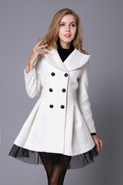 Wholesale Natural Wool Yarn - 2016 New Autumn And Winter Women Woolen Wool White Twill Coat Yarn Big Pendulum Double - Breasted Woolen Coat