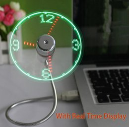 Wholesale cool gadgets china - Office Desktop Smart USB Time LED Clock Fan with LED Light Mini Flexible Cool Gadget With Retail package