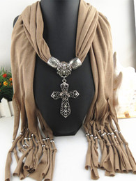 Wholesale Polyester Resins - Cross pendant jewelry Necklace Scarves Wraps Resin With Diamond Alloy Jewelry necklace Scarf for women 7 colors
