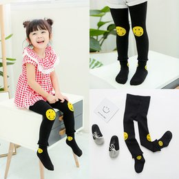 Wholesale Baby Pants Smile - New Baby Girls Tights New Autumn Cute PP pants With Socks Sets Toddler Clothing Smile Face Pants Infant Leggings Sock Set Black A6351