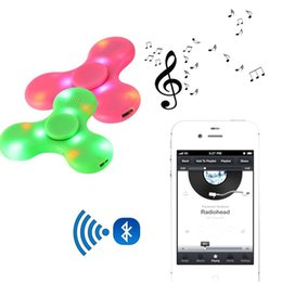 Wholesale Fingertips Music - Bluetooth LED Light Fidget Spinner toys 4 colors Hand Spinners Built in Bluetooth Speaker USB Music Fingertip LED spinners EDC toys
