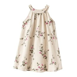 Wholesale Holidays Paint - Australia Style Summer New Girls Linen Dresses Sleeveless Ink painting Floral Holiday Beach Dress Children Clothes 1-6Y H0115