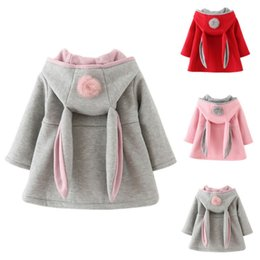 Wholesale Long Coats For Baby Girls - Children Bunny Jacket Spring Autumn Winter Baby Girl Rabbit Outwear Toddler Cute Coats Kids Hood Clothing Jacket For Girls