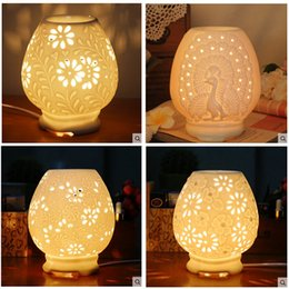 Wholesale Electric Aroma Lamps - Ceramics Electric Incense Burner Hollow Out Design Aroma Light Rose Fower Round Leaf Pattern Fragrance Lamps Crafts 20wy B R