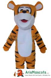 100% real fotos Adorável tamanho adulto bonito mascotes Feliz Tigger traje da mascote mascotes dos desenhos animados trajes de fantasias crianças carnaval vestido de festa de Fornecedores de traje tigger