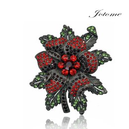 Wholesale Indian Wedding Flower Jewellery - 100PCS Lot Rose Flower Brooch Rhinestone Crystal Metal Alloy Gun Black Plated Jewellery Corsage Coat Suit Brooches pin For Women