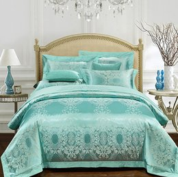 Wholesale Spreading Machine - Aqua Green Bedding set Luxury Girls Jacquard bedspreads Satin duvet covers sheets bed in a bag linen spread King Queen size 4PCS