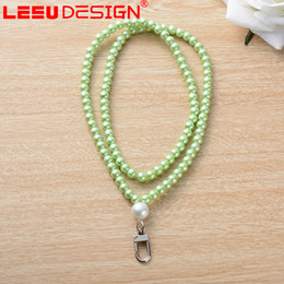 Wholesale Wholesale Phone Bling Accessories - Luxury Colors bling Pearls Universal Lanyard For iPhone 7 plus Phone Accessories Neck Straps Keychain Long bags Hanging Rope