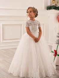 Wholesale Hot Holy Dress - Hot Sale White Ivory Lace First Communion Dresses For Girls 2017 Beaded Holy Pageant Ball Gowns Flower Girl Dresses For Weddings