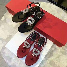 Wholesale Women Satin Black Thong - Fashion 2017 summer satin rhinestone buckle thong sadnals woman's sweet pearls flat shoes beach flip-flops shoes EU35-39 size