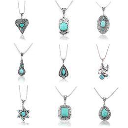 Wholesale Turquoise Silver Elephant Pendant - Wholesale- Fashion Vintage Tibetan Silver Turquoise Crystal Necklaces & Pendants Elephant Flowers Statement Necklace Women Jewelry