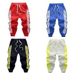 Wholesale children trousers - 2017 Spring three bar brace stripe children sports pants boy girl pants 4 color Casual sport trousers