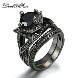 Wholesale Black Onyx Gold Ring - Elegant Black Gold Ring Sets Round Cut Black Cubic Zirconia Rings Sets Black Gold Color Fashion Party Crystal Women Punk Jewelry DFR622