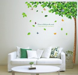 Wholesale tree wall decal butterfly - Green tree Butterfly Photo Wall Sticker Wall Decal Poster Photo Picture Frame Base Art DIY Home Decor better than Wooden