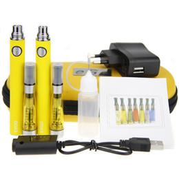 Wholesale Double Clearomizer - Double EVOD CE4 Starter Kits E Cigarette 650 900 1100mAh EVOD battery 1.6ml CE4 Clearomizer E Cig Set Zipper Case ecigarette Kit