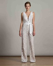 Wholesale Cowl Neck Beach Wedding Dresses - full lace jumpsuit with deep V-neckline wedding dresses 2017 robbin belt floor length bridal wedding gowns
