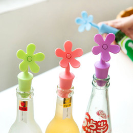 Wholesale Flower Bottle Champagne - Flower Shape Wine Stopper Silicone Wine Champagne Bottle Caps Home Kitchen Bar Tools
