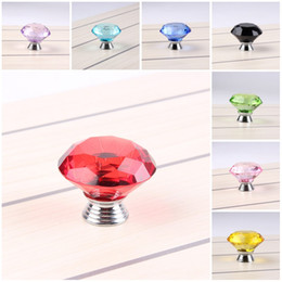 Wholesale great handles - Diamond Shape Crystal Glass Cabinet Knob Cupboard Drawer Pull Handle Great For Cupboard Kitchen And Bathroom Cabinets 40MM 9 Color C76L
