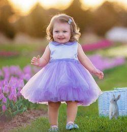 Wholesale Flower Tie Backs - 2017 popular Lavender tie short kids girl birthday flower dress tulle zipper back cute butterfly princess pageant dresses