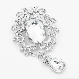 Wholesale Big Pendent - Vintage Stylish Rhodium Alloy Big Waterdrop Shaped Crystal Pendent Women Brooch Amazing Boutique Jewelry Brooch Pin Lady Hijab Wear Pin