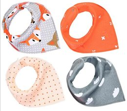 Wholesale Hot Cartoons Fox - 11 styles baby INS bibs fox cloud Print 100% Cotton bibs Burp Clothe Newborn hot selling baby kids 4pcs set Bibs