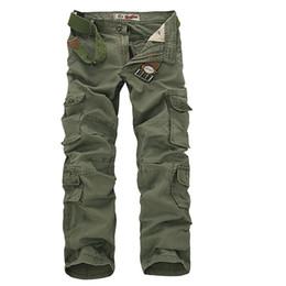2017 Hombres Pantalones Cargo Army Green Multi Bolsillos de Combate Ocasional de Algodón Pantalones Rectos Flojos Tamaño 46 Male Easy Wash Pants sin cinturones desde fabricantes