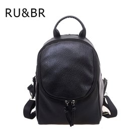 Wholesale College Korean Backpack - Wholesale- RU&BR New College Wind Woman Backpack Female Korean School Bag Fashion Leisure Travel Bag PU Leather Solid Color Backpacks Bout