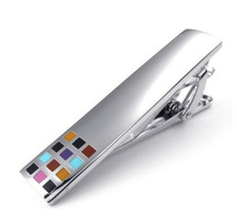 Wholesale Nice Colorful Jewelry - new 49*10*22mm fashion men copper plated colorful square tie clip tie clips jewelry nice gift tie clip Personalized boys accessory men gift
