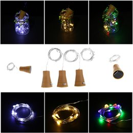 Wholesale Valentine Craft Wholesale - 8 LED 10 LED Solar Silver Wire String Light with Bottle Stopper for Bar Glass Craft Bottle Fairy Valentines Wedding Decoration Lamp