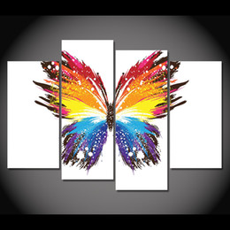 Wholesale Colorful Posters - 4 Panel Canvas Art Canvas Painting Butterfly Colorful Pattern HD Printed Wall Poster Home Decor Picture for Living Room XA076D