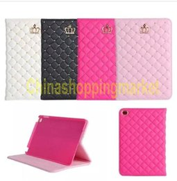 Wholesale Crown Smart Case Pouch - 2016 For iPad mini cases ipad2 3 4 Phone pouch Rhinestone Crown rivet Smart Cover with stand shockproof Dormancy pc+pu leather free shipping