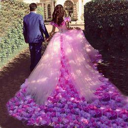 Wholesale Amazing Wedding Dress Sweetheart Tulle - Amazing Saudi Arabia colorful Wedding Dresses hand made flowers ball gown 2018 pink bridal gowns vestido de noiva
