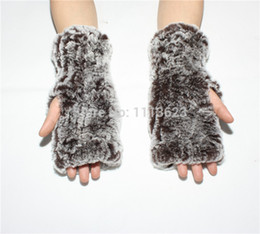 Wholesale Genuine Rabbit Fur Gloves - Wholesale- LIYAFUR New Women's Real Genuine Knitted Rex Rabbit Fur Winter Fingerless Gloves Mittens Arm Sleeve