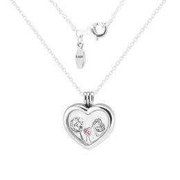 Wholesale Medium Locket - Heart Medium Floating Locket Silver Necklace With Heart, Star&Love 100% 925 Sterling Silver Necklace DIY Jewelry