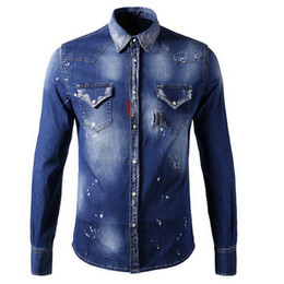 Wholesale Button Paint - Stretch Denim Cotton Painted Long Shirt Cool Guy Stone Wash Fading Effect Buttoned Cuffs Cowboy Shirt Man Slim Fitness