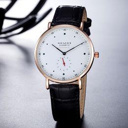 Wholesale leather watch waterproof women - 2017 New luxury watch Brand NOMOS Waterproof Quartz Watch Men Leather Dress Wristwatches Fashion Casual Watches Women