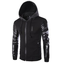 Wholesale leather jacket coat long - Winter Autumn Men 's Hooded Jacket Coat Fashion Stitching Leather Sleeve Male Zipper Casual Overcoat Black Dark Gray M-2XL