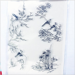 Wholesale Stamps Albums - Wholesale- 11.3*15.56 plum flower bird Transparent Silicone Rubber Clear Stamps cartoon for Scrapbooking DIY Christmas wedding album