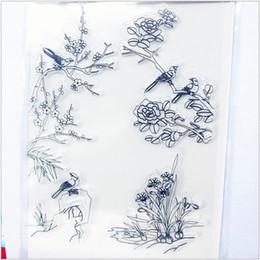 Wholesale Wholesale Wedding Albums - Wholesale- 11.3*15.56 plum flower bird Transparent Silicone Rubber Clear Stamps cartoon for Scrapbooking DIY Christmas wedding album