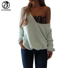 Wholesale Loose Knit Crochet Poncho - Wholesale-YeJia Long Sleeve Knitted Sweater Women Autumn Winter V-Neck Loose Pullovers 2016 Fashion Poncho Feminino Jumper Solid Outwear